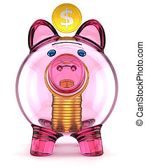 Glass piggy bank front side