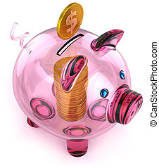 Glass piggy bank with coins inside