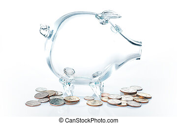 Glass piggy bank with dollars against a white background