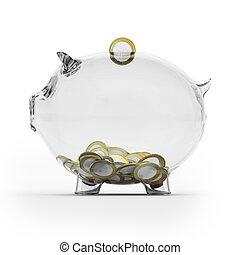 Glass piggy bank with euro coins. Side view - Glass piggy...
