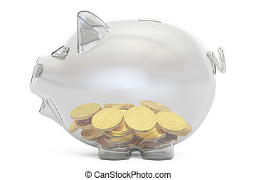 glass piggy bank with golden coins, 3D rendering