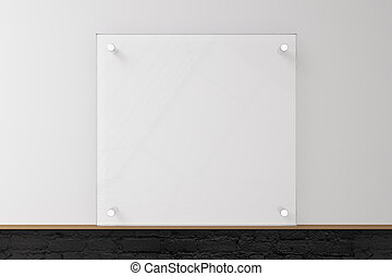 Glass plate on concrete wall - Glass plate on blank concrete...