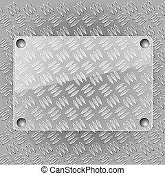Glass plate on metallic plate