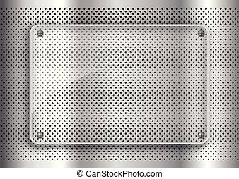 glass plate on perforated metal background background 1203