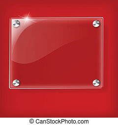 Glass plate on Red background