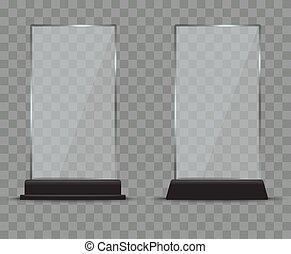 Glass plate set on transparent background. Plastic banner ...