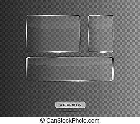 Glass plates set on transparent background. Vector illustration