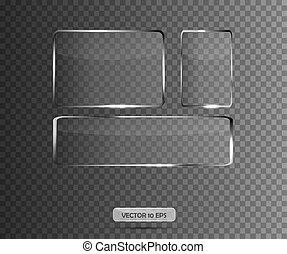Glass plates set on transparent background. Vector illustration
