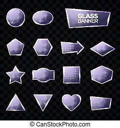 Glass plates set. Triangle, square, rectangle, hexagon, pentagon, star, heart, circle textured frames with glow and light on transparent background. Technology shapes. Realistic vector illustration.