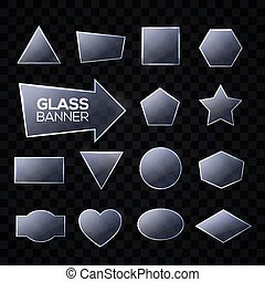Glass plates set. Triangle, square, rectangle, round, oval, hexagon, pentagon, star, heart, arrow, circle shaped textured frames with glow and light. Technology banners. Realistic vector illustration.