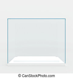 glass podium. 3d render. isolated on gray background.