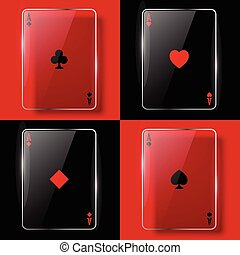 Glass poker ases. Vector illustration. Eps10