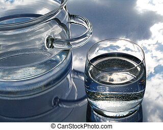 Glass pot and glass with water