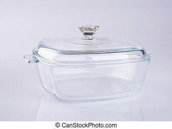 glass pot or glass casserole with lid for baking on a...