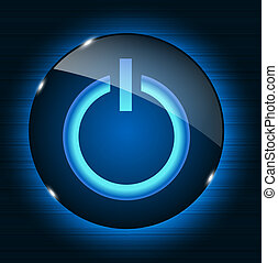 Glass power button icon on abstract background. Vector...