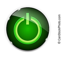 Glass power button icon . Vector illustration