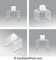 Glass rack podium shelf set 3d isometric realistic design vector illustration