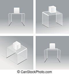 Glass rack podium shelf set 3d isometric realistic design vector illustration