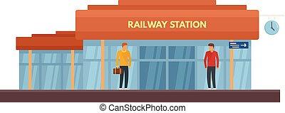 Glass railway station icon, flat style