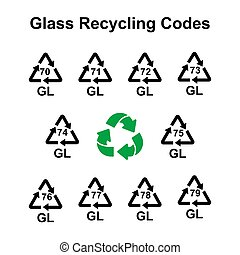 Glass recycling codes vector simple signs