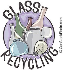 Glass Recycling Icon Illustration