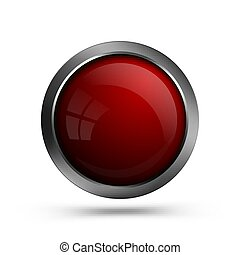 Glass red button for web design.
