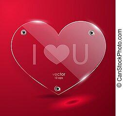 Glass red Heart. Vector illustration.