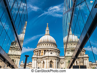 Glass reflections of St Paul Cathedral, London