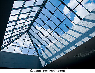glass roof - modern design office building with glass panel ...