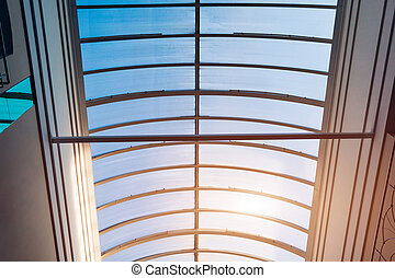 Glass roof of modern building. Interior design. Architecture