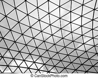 Glass roof of the Great court at the British Museum, London,...