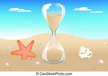 Glass Sand Clock On Seaside With Starfish, Shell And Pearls