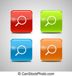 Glass Search Button Icon Set Vector Illustration