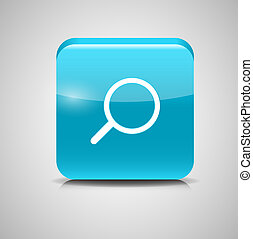 Glass Search Button Icon Vector Illustration