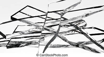 Glass shards piled on top of each other