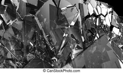 Glass shattered and broken in slow motion. Alpha
