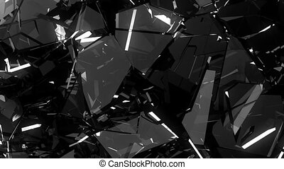 Glass shattered and broken in slow motion. Alpha matte. 3d render. 3d animation