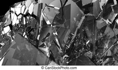 Glass shattered and broken in slow motion. Alpha matte. 3d...