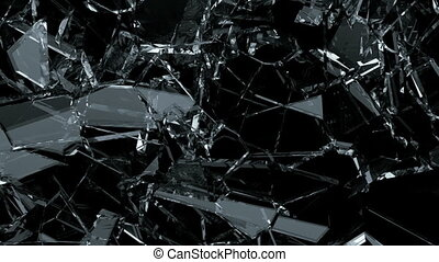 Glass shattered and broken in slow motion. Alpha matte. 3d...