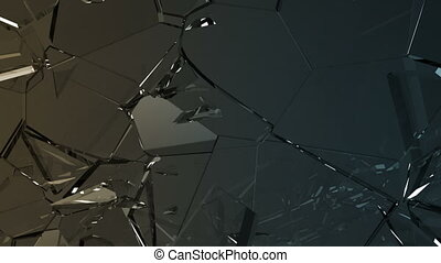 Glass shattered and broken in slow motion. Alpha matte