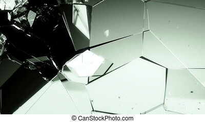 Glass shattered and broken slow mo