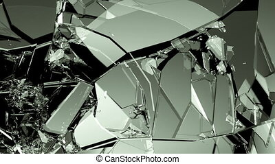 Glass shattered and cracked slowmo - Glass shattered and...