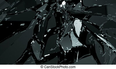 Glass shattered in slow motion