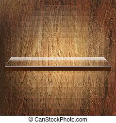 Glass Shelf On Wooden Background