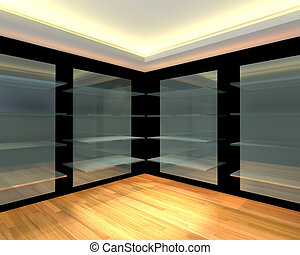 Glass shelves in black empty room