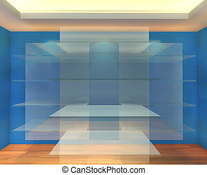 Glass shelves in blue empty room for exhibition gallery and business showcase