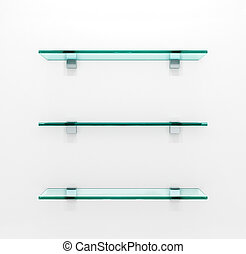 Glass shelves on light grey background. 3d illustration