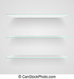 Glass shelves on light grey background