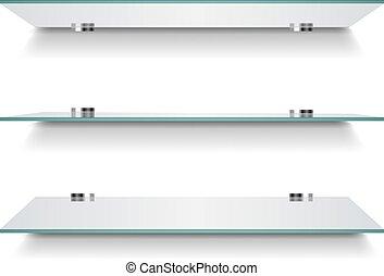 Glass Shelves On Light White Background