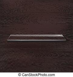 Glass Shelves On Wood Background